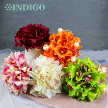 INDIGO 21 pcs/Lot 5 Colors Cymbidium Orchids New Style Bride Banquet Real Touch Flower Wedding Party Free Shipping