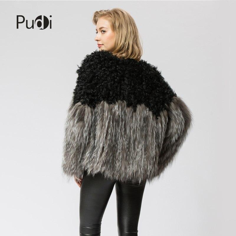 Fox Manteau D'hiver Cr054 Fourrure De Mouton Ourwear amp; Tricoté Mode Tricot Femmes Silver Chaud Réel Veste rzzwIOq