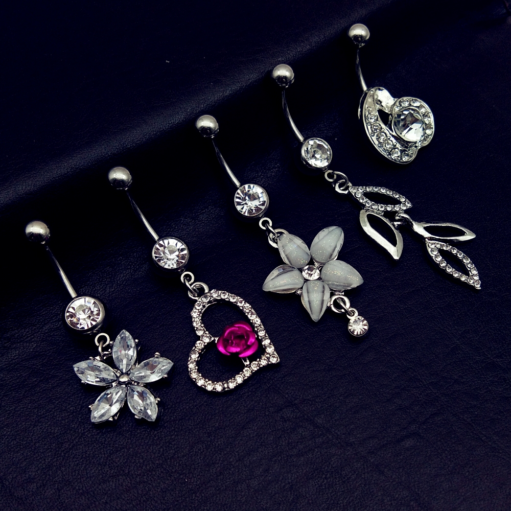 AS/_ CN/_ Women/'s CZ Leaf Shape Navel Belly Button Ring Body Piercing Jewelry Char