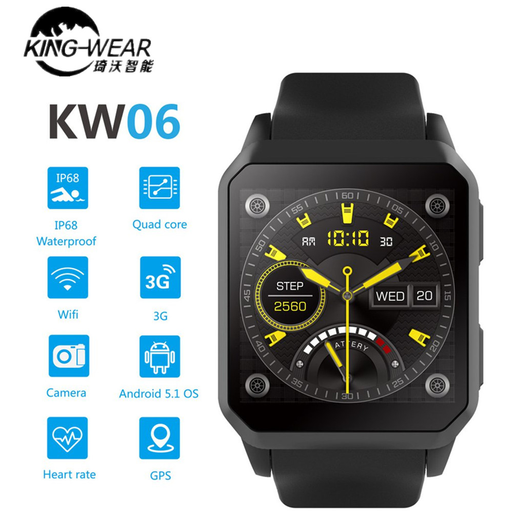 KINGWEAR KW06 Smart Watch 1.54 Inch MTK6580 Quad Core 1.3GHZ Android 5.1 3G Smart Watch 460mAh 0.3 Mega Pixel Heart Rate MonitorKINGWEAR KW06 Smart Watch 1.54 Inch MTK6580 Quad Core 1.3GHZ Android 5.1 3G Smart Watch 460mAh 0.3 Mega Pixel Heart Rate Monitor