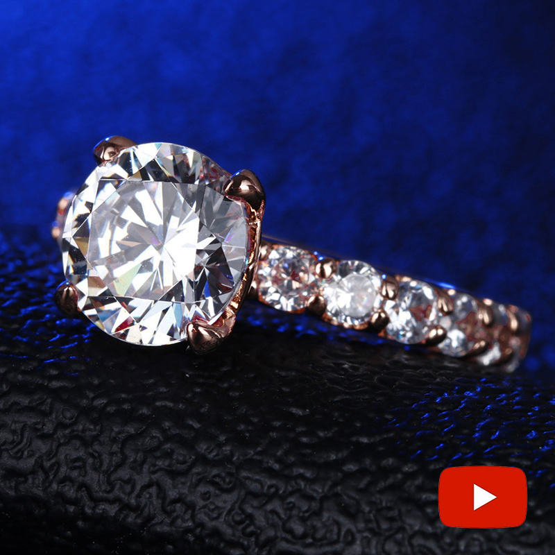 3 Carat Round Cut 9.5mm S925 Sterling Silver Ring Diamond Rose Gold Color  Halo Fine Ring Unique Style Love Wedding Engagement