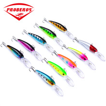 90mm/7.3g Colorful Minnow Fishing Lure Hard Bait Saltwater Bass Crankbait Treble Hook Sea Folating Wobbler Trolling