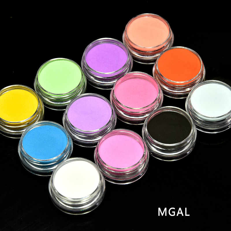 1 Lot = 12 Potten Manicure Acryl Poeder 1 set UV Nail Art Polymer Builder Nieuwe Carving Patroon Decoratie Poeder kit (case pack)