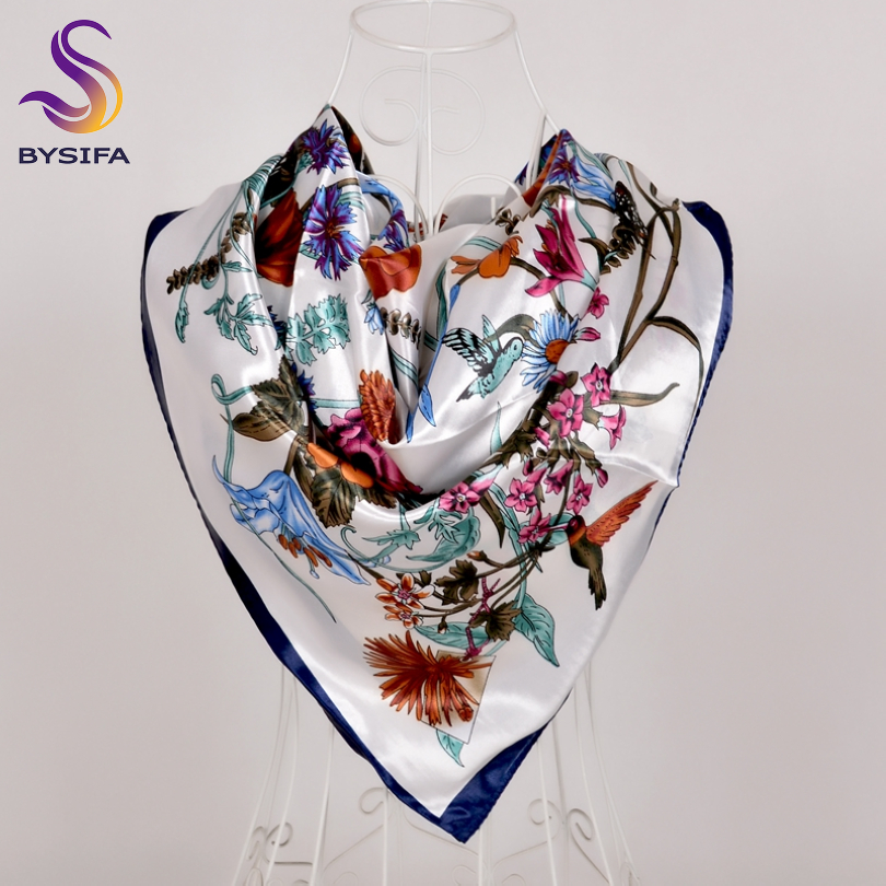 [BYSIFA] New White Silk Satin Scarf Shawl Winter Spring Autumn Elegant Plant Flowers Square Scarves Muslim Women Head Neck Scarf
