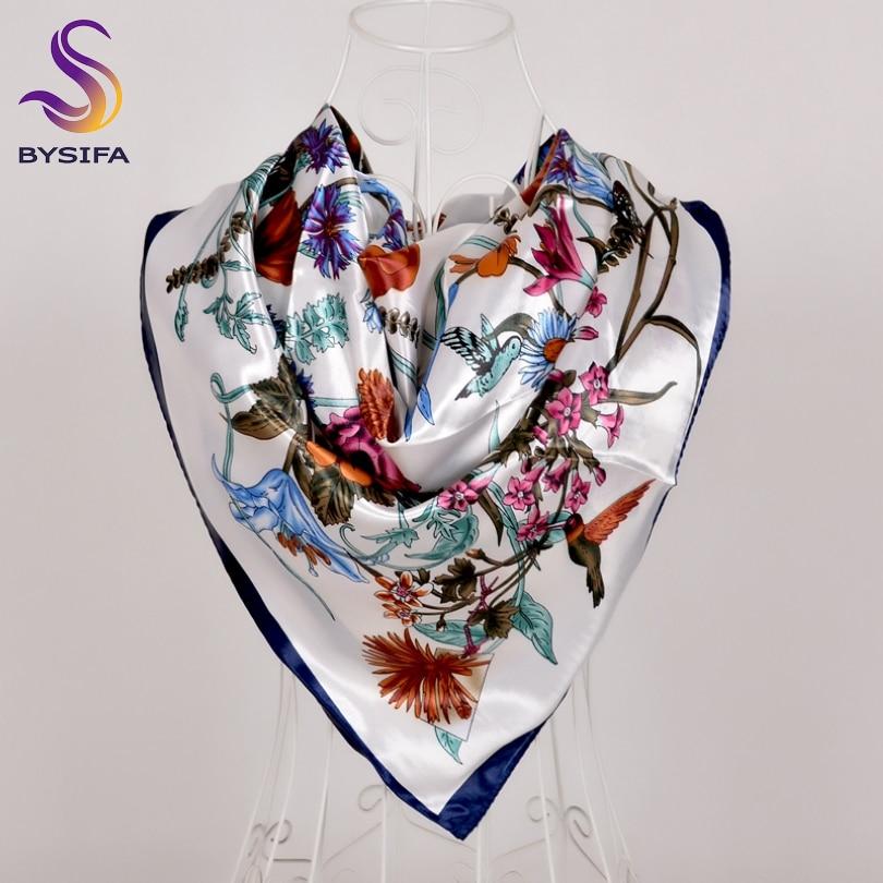 [BYSIFA] New White Silk Satin Scarf Shawl Winter Spring Autumn Elegant Plant Flowers Square Scarves Muslim Women Head Neck Scarf