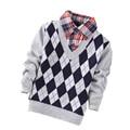 2017 Niños Suéteres Infantiles de Los Bebés Niños Ropa Boy Suéteres Pullovers de Punto Da Vuelta-abajo prendas de Vestir Exteriores Caliente