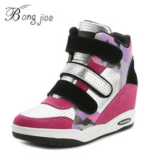 BANGJIAO New Leisure Wedge Breathable Sneaker Women Height Increasing Shoes Woman Ankle Boots High Top Shoes tenis feminino