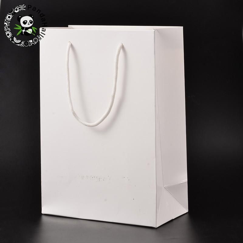 Rectangle Cardboard Pouches Gift Shopping Bags, with Nylon Thread, White, 28x20x10cm