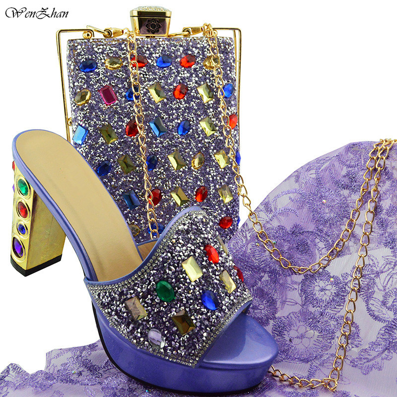 2018Fashion Italian Shoes With Matching Bags Comfortable High Heel Women Shoes and Bag Set For Party Size 38-43 B85-15 aidocrystal luxury handmade crystal sunflower high heel women italian shoes with matching bags