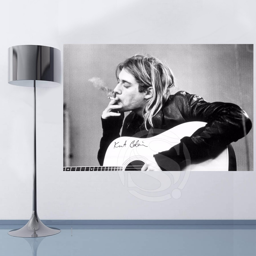 Top Selling Custom GB Eye kurt Cobain Smoking Canvas Painting cloth print DIY Fabric Poster Wall Silk Poster F620W#-23