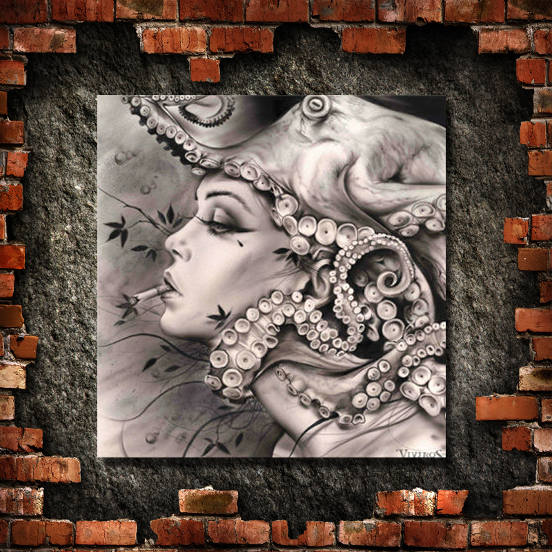 Pinsel Moderne Rauchen Mädchen Kunst Bild handarbeit Ölgemälde Dekoration Wandkunst Leinwand Malerei Setzt Kein feld - 3