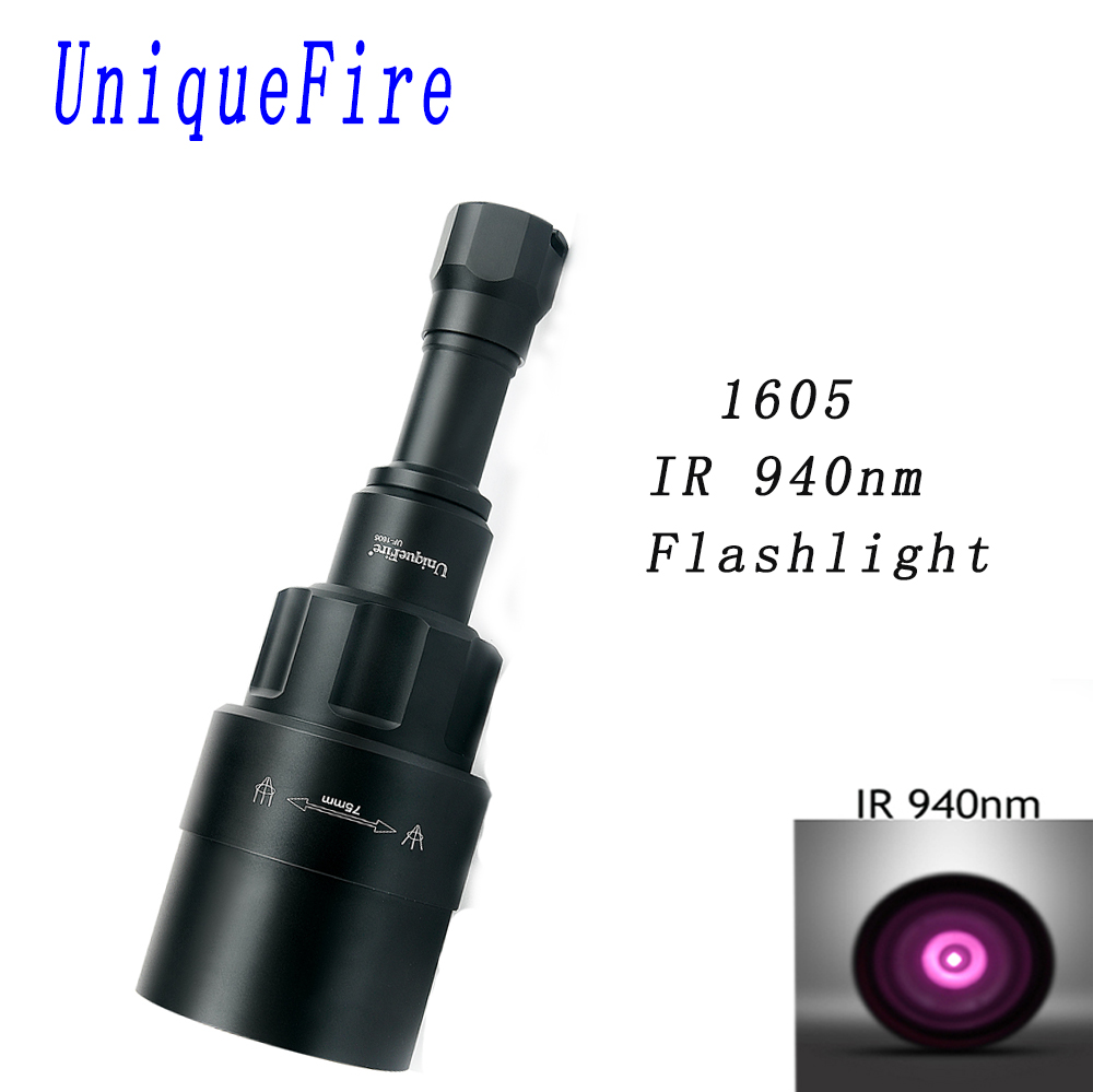 UniqueFire 1605 IR 940NM LED Flashlight 75mm Lens Infrared Light Night Vision Troch Rechargeable Adjustable Lanterna For Hunting uniquefire 1605 ir 940nm led flashlight 38mm lens infrared light night vision troch adjustable rechargeable for hunting kit set