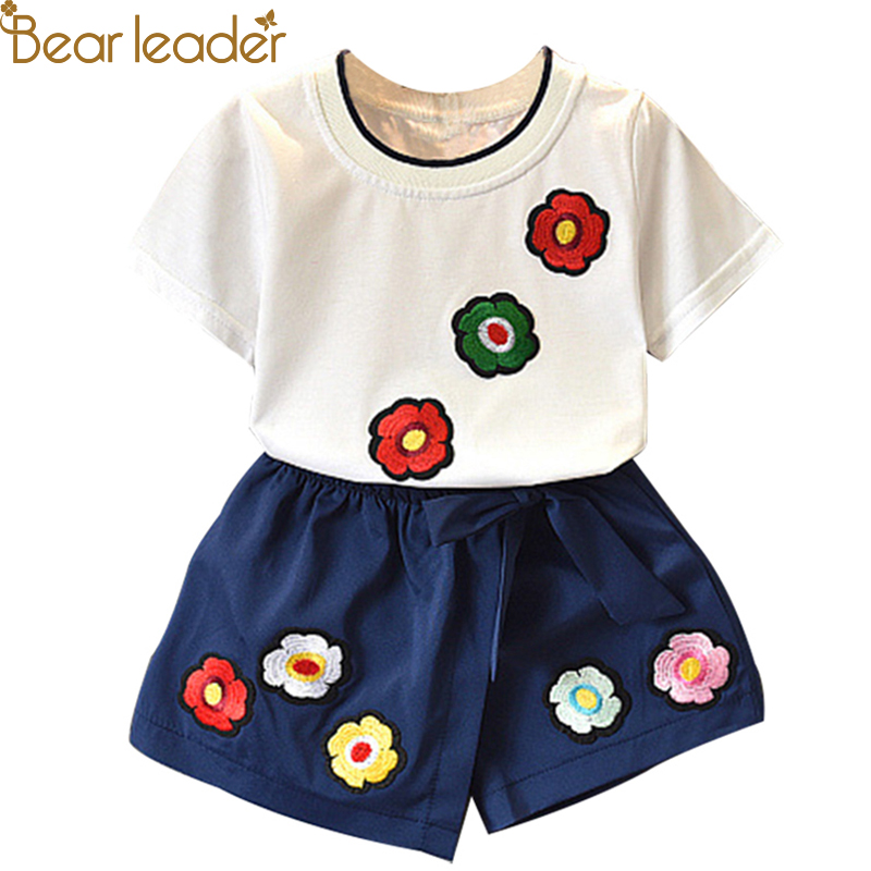 Bear Leader Girls Clothing Sets 2019 Summer New Girls Fashion Set Flowers Child Set Print Tops + Shorts Two-piec For 3-7 Y