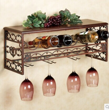 Continental Solid Wood Wrought Iron Wall Mounted Wine Rack Wine
