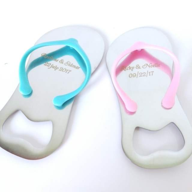 1d73c7f6c3d20 100Pcs Customized Wedding Favor And Gift Personalized Wedding Souvenirs For  Guests Flip-Flop Bottle Opener Gifts+Box Organza Bag