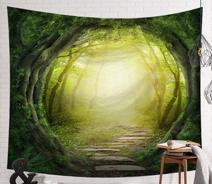 Image 5 - CAMMITEVER Fantastic Scenic Forest Cabin Green Light Big Red Mushroom Hanging Living Print Wall Tapestry Decoration New Tapestry