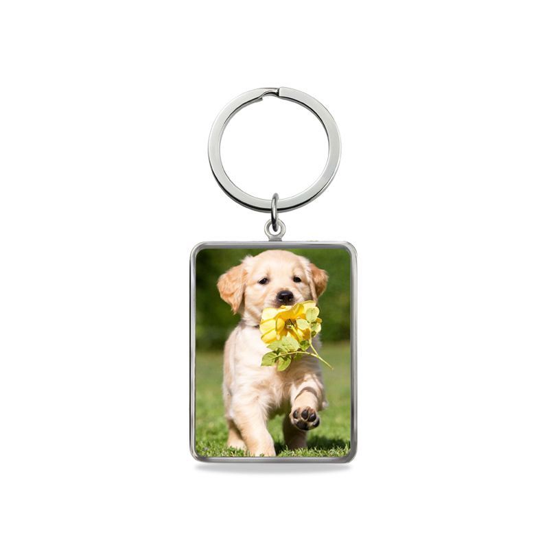 AILIN personnalisé couleur Photo porte-clés en argent Sterling gravé porte-clés mémoire cadeau hommes bijoux