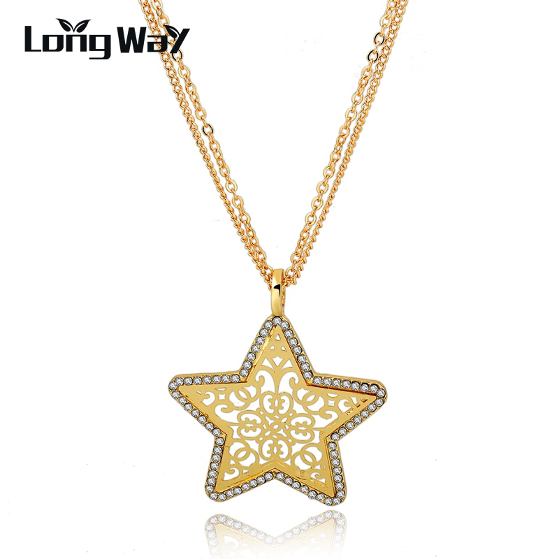 LongWay Gold Color Star Hol Pendants Multi-layer Long Chain Necklaces With Austrian Crystal Bijoux Femme Gift SNE150884103
