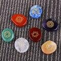 NEW 7 piece Engraved Chakra Stone Palm Stone Crystal Reiki Healing Free Shipping