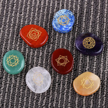 NEW 7 piece Engraved Chakra Stone Palm Crystal Reiki Healing With Pouch Free Shipping