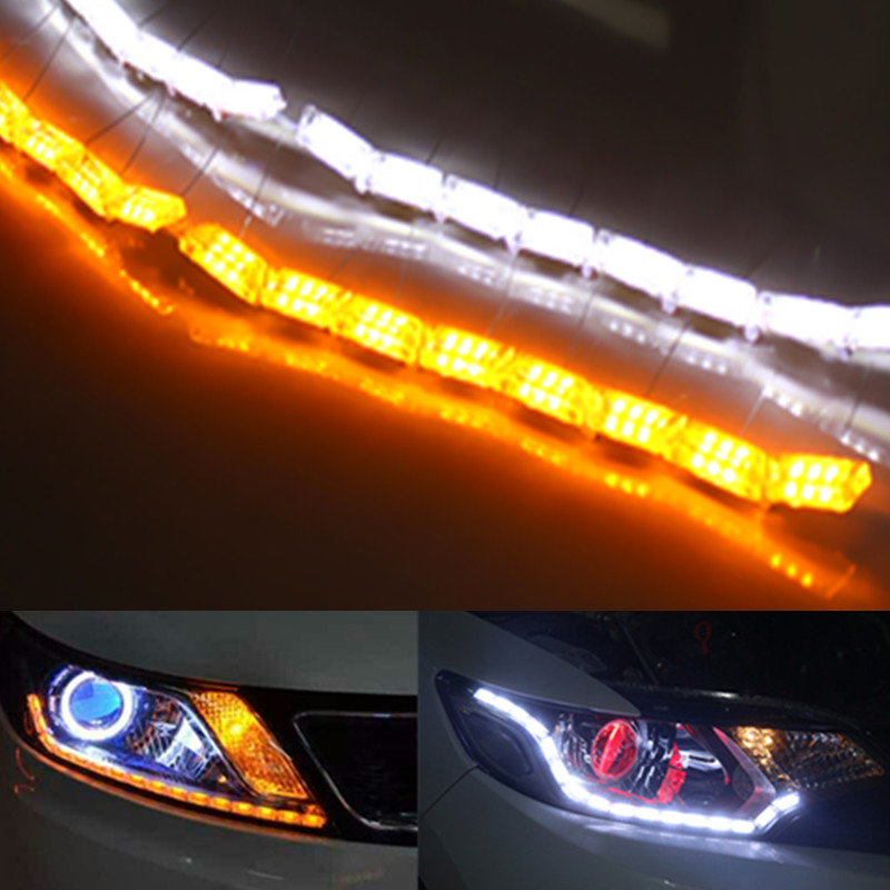 2x <font><b>LED</b></font> Car Crystal <font><b>DRL</b></font> Daytime Running Strip <font><b>Turn</b></font> <font><b>Signal</b></font> Light For VW POLO Golf 4 5 6 7 GTI <font><b>Passat</b></font> b5 <font><b>B6</b></font> JETTA MK5 MK6 CC EOS image