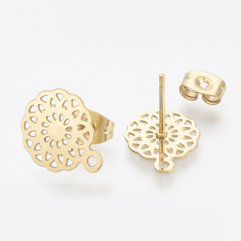 10pcs/lot Gold Stainless Steel Round Flowers Base Earrings Pendant Connector For DIY Fashion Earrings Jewelry Accessories