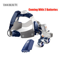 TDOUBEAUTY 5W LED Dental Surgical Head Lamp All in one With 3.5X420mm Binocular Galileo Frame Loupe Magnifier New Arrival