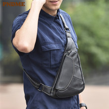 PNDME high quality simple mens genuine leather chest bag sports messenger bags vintage small soft cowhide rig for men