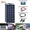 200W solar panel 2pcs 100W panels 2 шт. 100 Вт 200 Вт Гибкая солнечная панель модуль системы RV Автомобиля Морской лодки домашнего использования 12 В/24 В DIY компле...