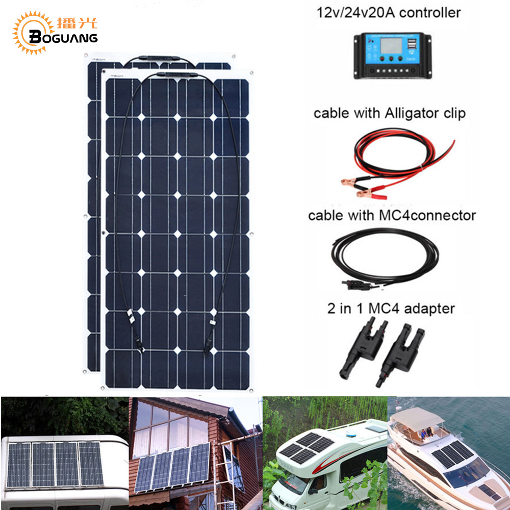2pcs 100w Sistema de Painel Solar Flexível 200W Módulo da Célula Carro RV Marine Boat Início Uso 12V /solpanel 24V DIY Kit painel Solar Painéis Solares