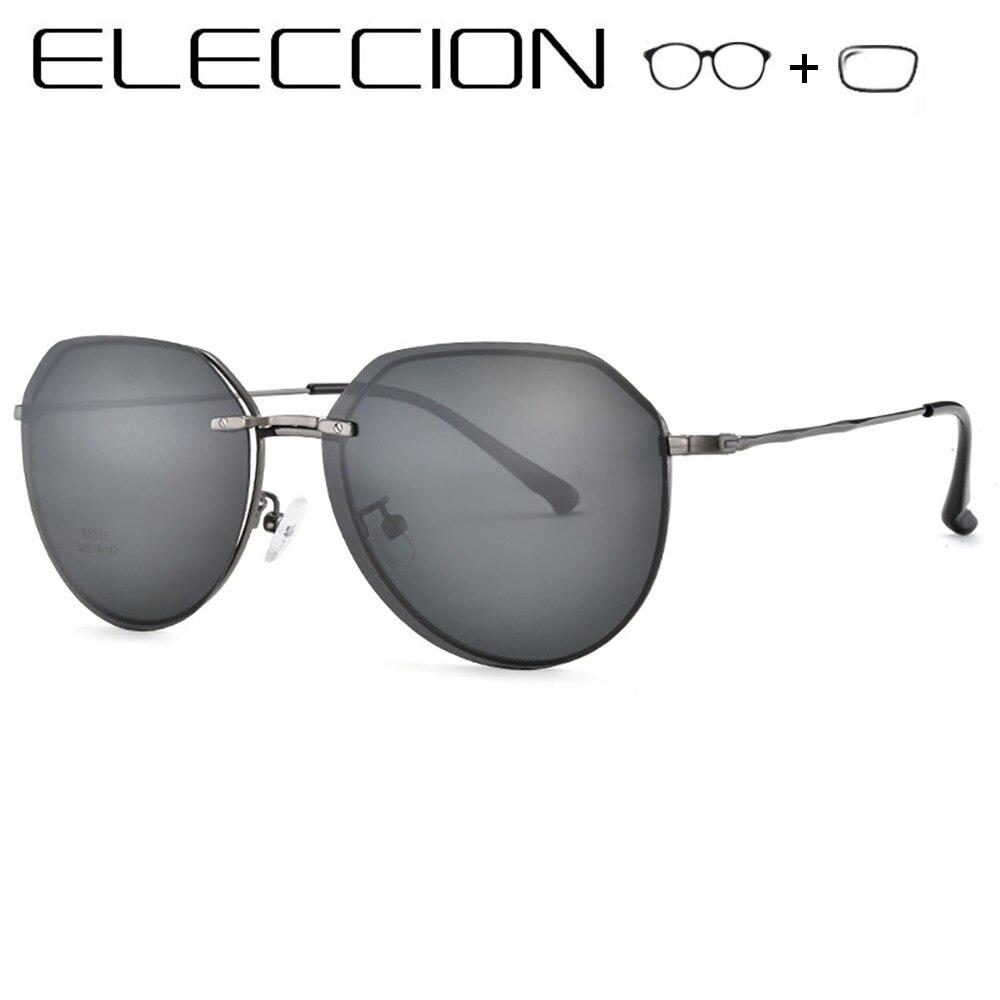91c3c052d ELECCIÓN Prescrição Mulheres Óculos de Miopia Óculos Redondos Óculos Homens  Frame Ótico Óculos Polarizados Óculos De Sol Com Clips