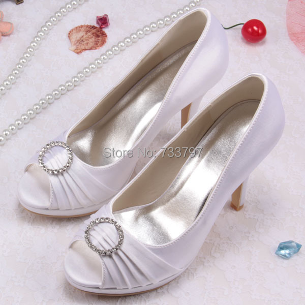 Sweet Style White High Heels Wedding Women Shoes With Diamond Peep Toe Shoes