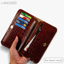 wangcangli brand genuine calf leather phone case crocodile texture flip multi-function bag for Huawei Nova2 hand-made
