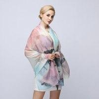 W. Jacinthe Nuovo misto lana pittura digitale di seta fiore rettangolare sciarpa femminile sciarpa di seta sottile aria condizionata scialle caldo