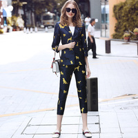Two Piece Set Women Pants Suit Set Outfits For Women 2018 autumn glod dog puppy printed blazer + feet track pants fashion suits