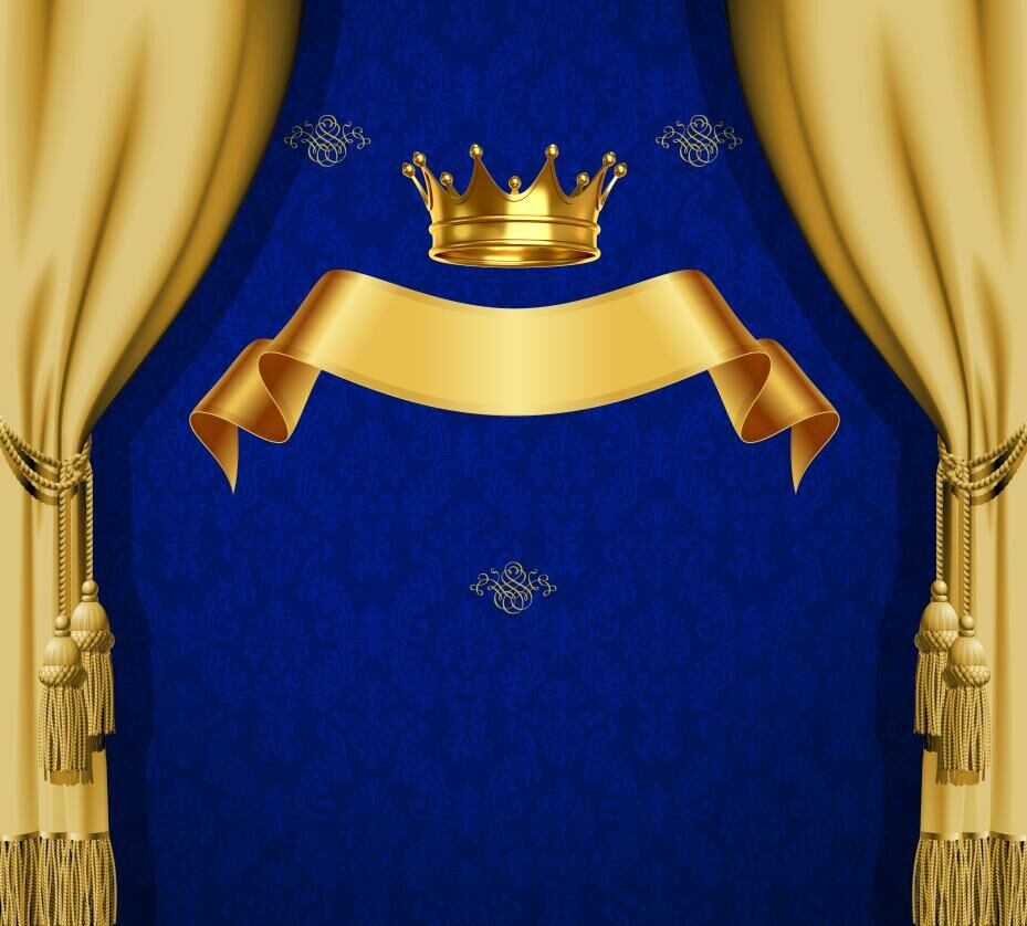 8x8FT Royal Blue Damask Pattern Gold Crown Ribbon Drape