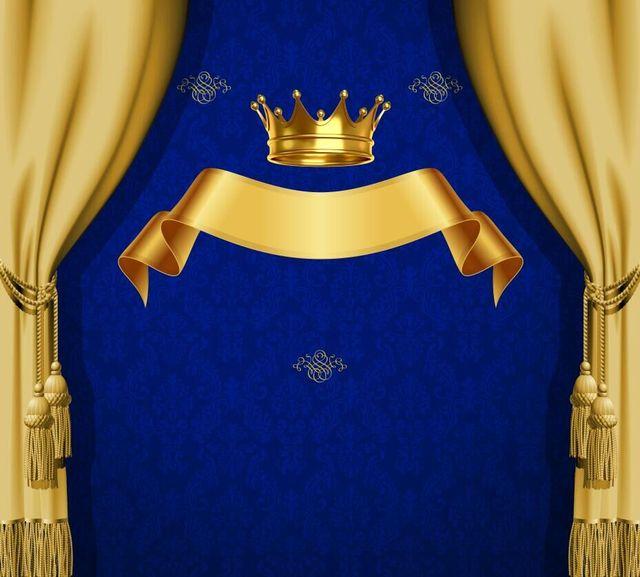 Purple And Black Damask Wallpaper 8x8ft Royal Blue Damask Pattern Gold Crown Ribbon Drape