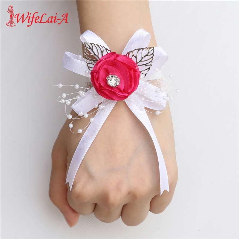 2019 European Rose Red Silk Ribbon Wrist Corsage Bracelet Flower Hand Artificial Bride Bridesmaid Flowers For Wedding SWSL-P