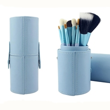 8 colors PU Leather Travel Makeup Brushes Holder Storage Empty Pen Holder Cosmetic Brush Bag Brushes Black Make Up Tools Cups