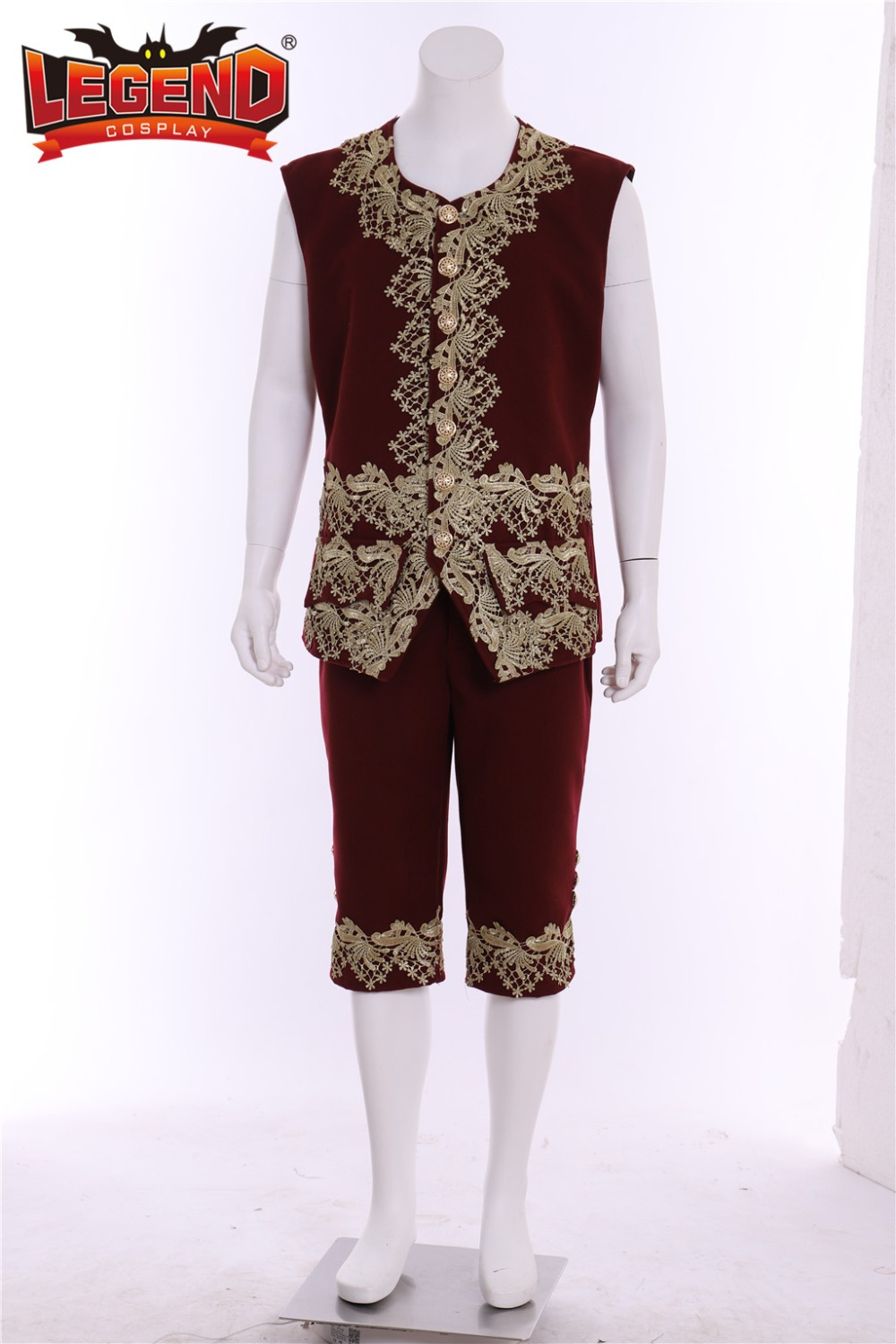 colonial Victorian Elegant cosplay costume 18th men/'s rococo court suit burgandy