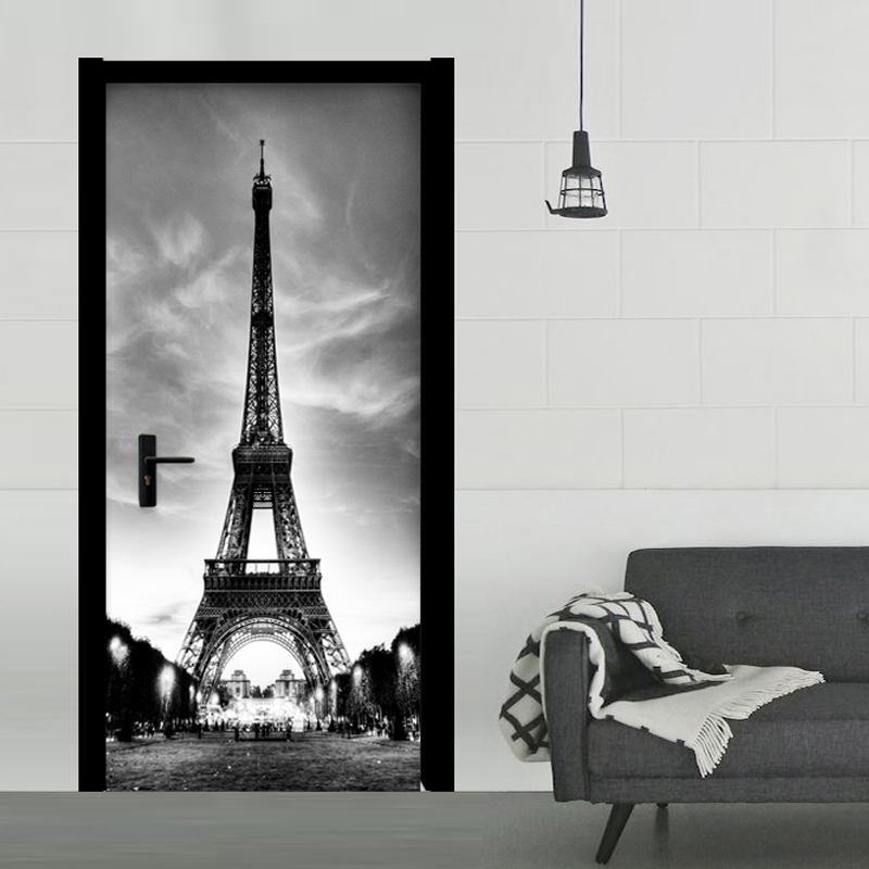 Black And White Iron Tower Door Sticker Modern Creative Living Room Restaurant 3D Wall Sticker PVC Waterproof Wallpaper 3D Decor