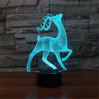 Deer 3d Night Light 7 Color Changing Usb Table Lampara Lampe Christmas Deer As Gift For