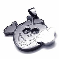 Free Shipping Fashion Jewelry 316L Stainless Steel Titanium Steel Silver Cartoon Apple Fruite Leaf Pendant Necklaces