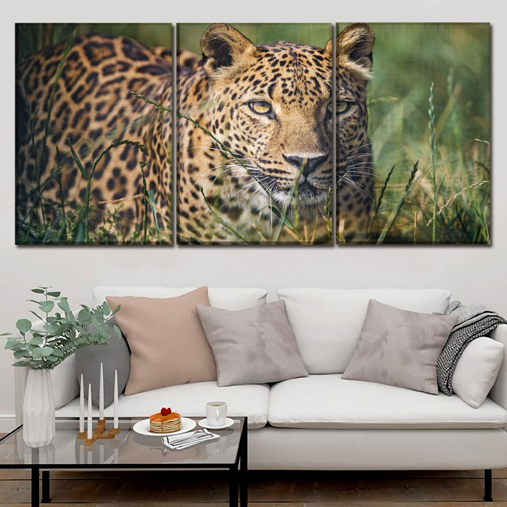 Modern Artwork 3 Panel Canvas Print Animals Leopard Painting Wall Art Modualr Picture Decor Framework For Living Room Home