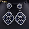 Exquisite White Gold Plated Long Cubic Zircon Created Diamond Big Exaggerated Dangle Drop Earrings Ethnic Jewelry For Women E034