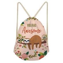 Cute Cartoon Animal Sloth Printed Women Drawstring Bags Fashion Storage Bags Softback Teenage Girls Bookbags TravelSumka