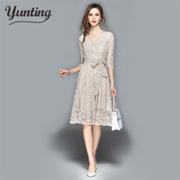 2019 Spring Lace Dress Work Casual Slim Fashion V neck Sexy Hollow Dresses Women A line Vintage Vestidos