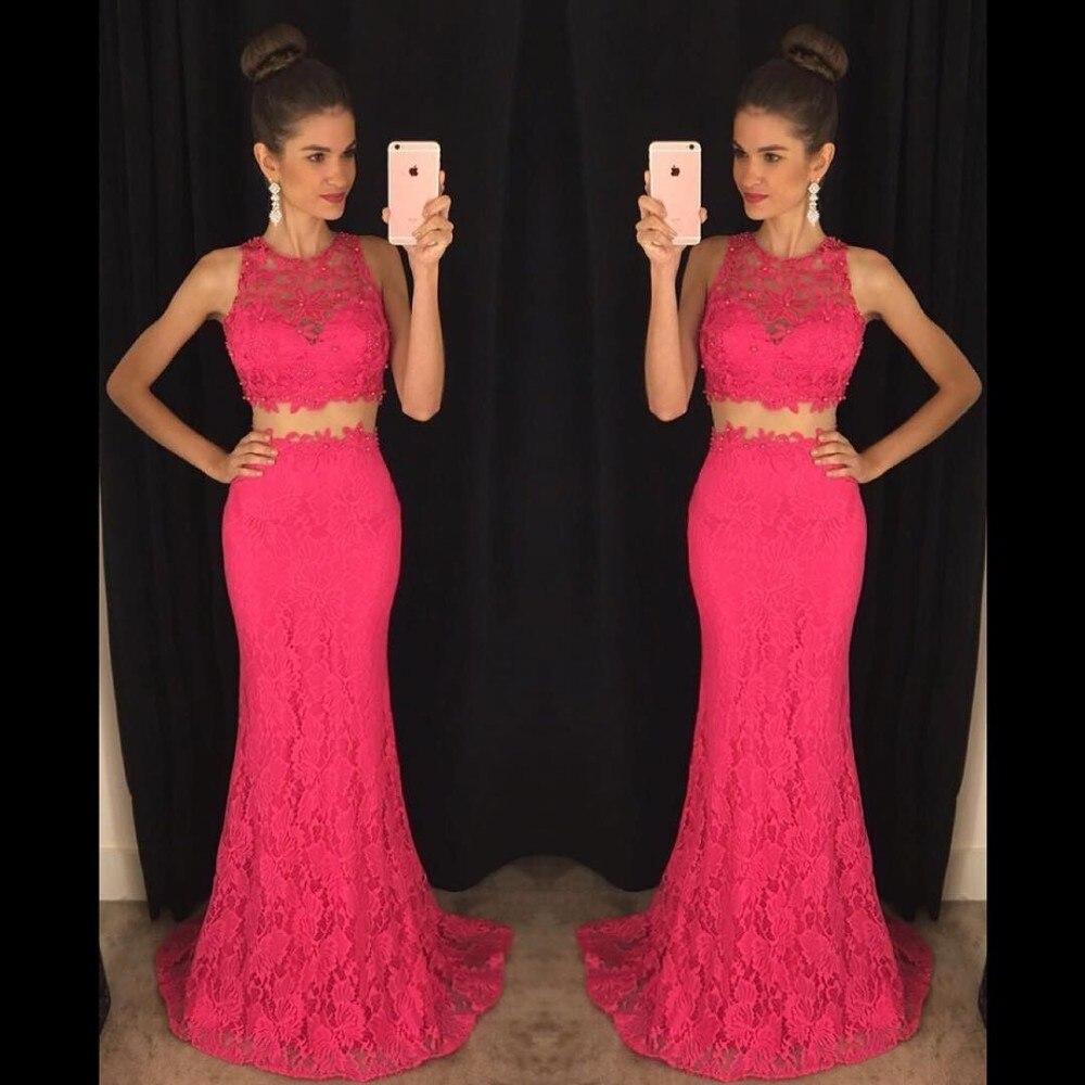 Vestido de festa Longo 2019 Sexy Two Piece   Prom     Dresses   With Lace On Net Jewel Neck Sleeveless Evening   Dress