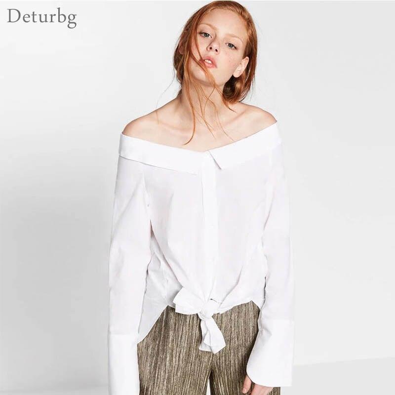 Atractiva de las mujeres Fuera Del Hombro Blusa Blanca  Otoño Damas de La Moda S