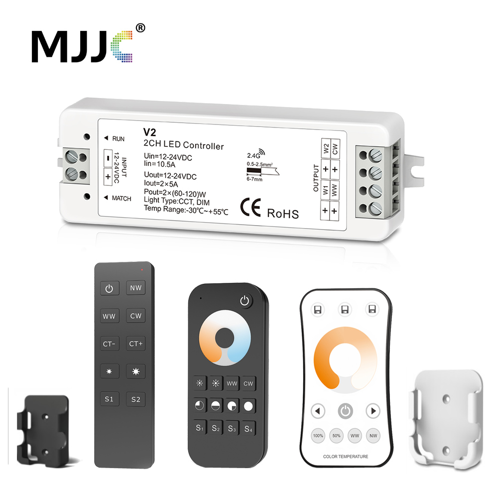 WW CW LED Controller 12V 24V 10A 2CH 2.4G Single Color CCT Light Strip LED Dimmer Controller RF Wireless Remote with Holder V2